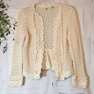 Knitted knotted ivory crochet cardigan